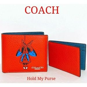 Coach Marvel Spider-Man Red Leather Wallet NWT